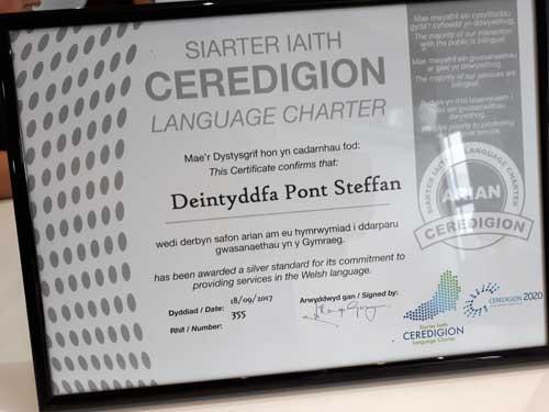 Pont Steffan Ceredigion Language Charter Certificate